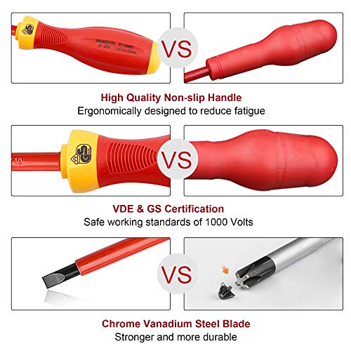 XOOL 1000V Insulated Electrician Screwdrivers Set with Magnetic Tips, Slotted and Phillips Bits Non-Slip Grip, 8 Piece