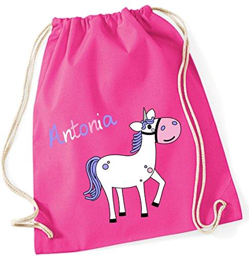 Gymtas met naam | incl. naam | motief paard | sporttas voor kinderen meisjes roze roze stoffen tas hipster-rugzak
