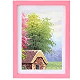 Gocomcom Photo Frame - 5x7 Picture Frames - Freestanding and Wall Mountable - Solid Wood Frames with HD Plexiglass, Rose