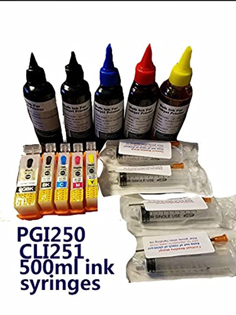 Green-products refillable PGI 250 CLI251 ink cartridges For canon PIXMA MG6620 MG7120 MG7520 MG5620 iP8720 ix6820 MG5522 MG6320 MG6420 MX722 MX922 w/ 500ml ink