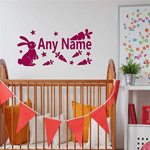 Coniglio personalizzato Coniglietto Carote Stelle Nome del bambino Decalcomania della parete Decalcomanie in vinile Art Home Decor Adesivi Nursery For Kids Rooms Murale 1 118 * 58 cm