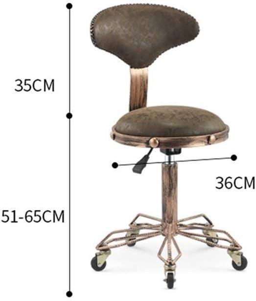 Csq-Confortable Rétro Beauté Tabouret, Barbershop décoratifs Tabouret Tabouret Multifonction Rotatif relevable sur roulettes Meubles décoratifs (Color : A) D