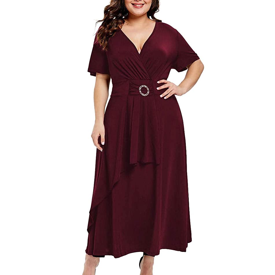 Women Plus Size Solid Maxi Dress Layered V Neck Short Sleeve Party Pleated Dress with Belt