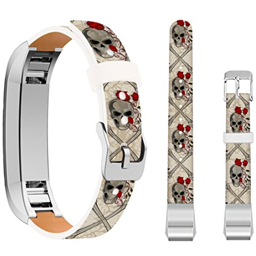 Ecute Soft Leather Band Strap Compatible with Fitbit Alta/Fitbit Alta HR - Vintage Skull