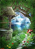 Alice in Wonderland Photo Backdrop,Fairy Tale Forest Photography Background for Newborn,Baby Shower and Kid's Birthday Party Supplies Decorations Studio Props,7x5ft