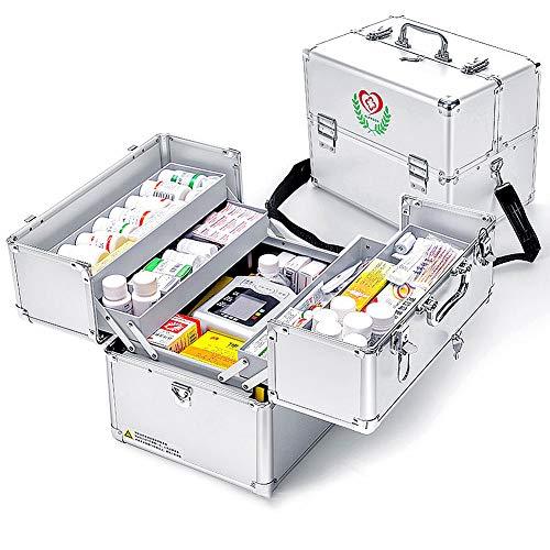 Nurth First Aid Kit Lockable First Aid Box Security Lock Medicine Storage Box with Portable Handle,Medication Lock Box 3 Tier Design/Precription Storage Box Large Space 14 × 9.8 × 11inch (Silver)