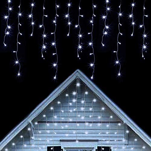 Twinkle Star 360 LED Icicle Christmas Lights Outdoor Dripping Icicle Lights, 29.5ft 8 Modes Curtain Fairy Lights with 60 Drops, Indoor Xmas Holiday Wedding Party Decorations, Cool White