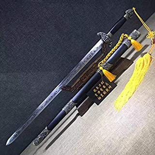 Chinese Sword,Dragon Tiger Sword,Hand Forged,High Carbon Steel Blade,Black Wood,Alloy