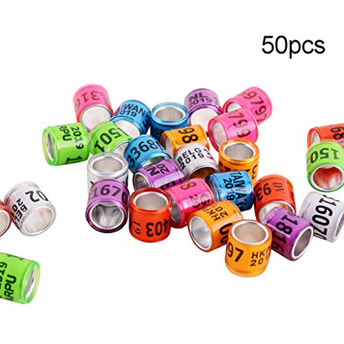 50 anelli in alluminio per zampe dei piccioni, per identificare le fasce numeriche