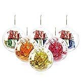 Jangostor 20 Piezas Bolas de Navidad, 40 mm, 60 mm, 80 mm, 100 mm Bola de Adornos navideños, Decoraciones de Navidad rellenables de plástico DIY Bolas de árbol Bolas artesanales Bola Transparente