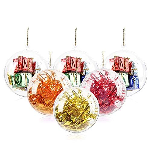 20 pcs palle di natale trasparenti, 40, 60, 80, 100 mm palle di ornamenti natalizi, decorazioni di Natale riempibili in plastica fai da te palle di albero palline artigianali palla trasparente