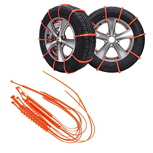 Car Adjustable Anti-Skid Cable Ties, Anti Slip Tire Chains Zip Tie Kit, Reusable Anti Slip Tire Straps Adjustable Universal Emergency Winter Anti-Skid Wheel Chains for Car Truck Off-Road SUV (20 pcs)