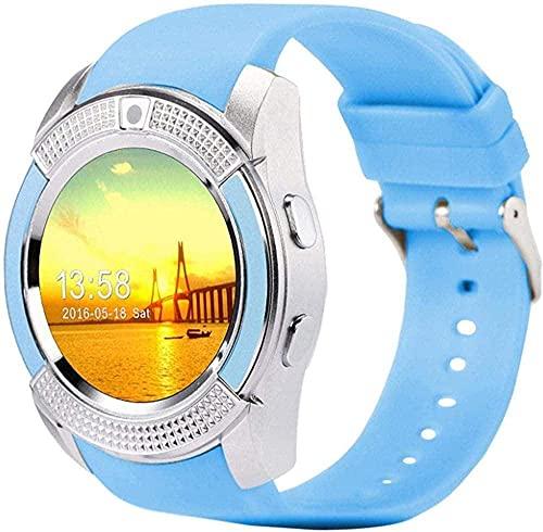 NCHEOI SmartWatch Smart Watch Bluetooth Smart Watch Pantalla táctil Reloj de Pulsera con cámara/Ranura para Tarjeta SIM Resistente al Agua Smart Watch-Sier Mejor Regalo/Rosa (Color : Blue)