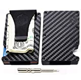Carbon Fiber Wallet Money Clip by Widely Quality - RFID Blocking - Complete Set with Screwdriver -...