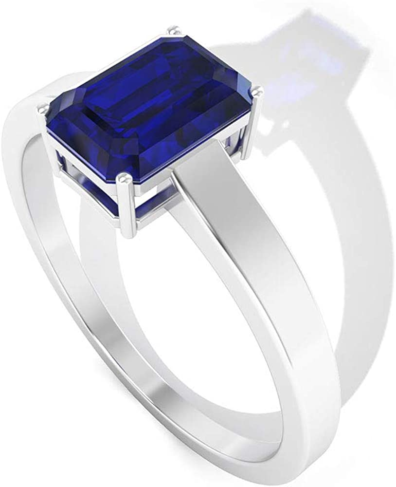 1Ct Octagon Shape Sapphire Diffused Ring, Solitaire Engagement Ring, IDCL Certified Gemstone Wedding Ring, Bridal Statement Ring, Promise Ring for Her, 14K Gold