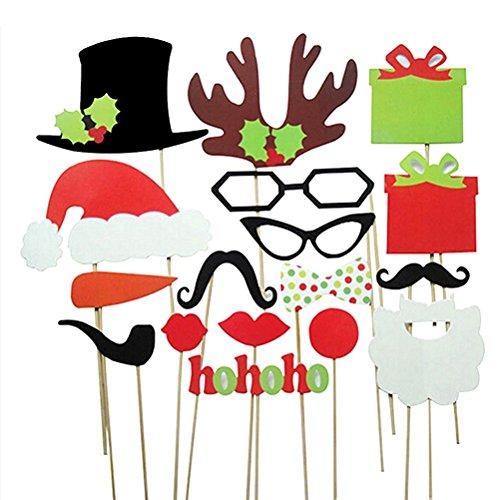 Veewon Noël Photo Booth Les Accessoires pour Xmas Party Supplies 17pcs Kit DIY Photobooth Lunettes Moustache Red Lips Corne de cerf Chapeau de Père Noël