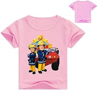 Boys Girls Fireman Sam T-Shirt Toddlers Crewneck Short Sleeve Cotton Tee