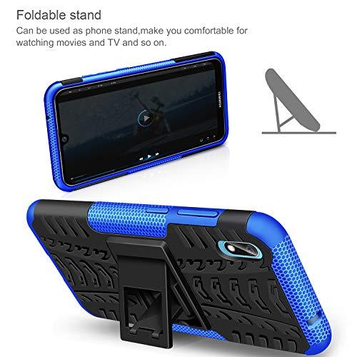 AROYI Huawei Y5 2019 Hülle+ Schutzfolie, TPU Series Dual Layer Hybrid Handyhülle Drop Resistance Handys Schutz Hülle mit Ständer für Huawei Y5 2019 Blau - 5