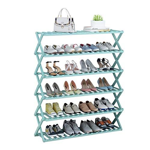M-YN Zapatero 6-Tier bambú Zapato Rack de Almacenamiento, estantes Plegables del Zapato de la Planta del Soporte de exhibición Organizador, Instalación-Libre, Sala de Estar, Entrada, Pasillo