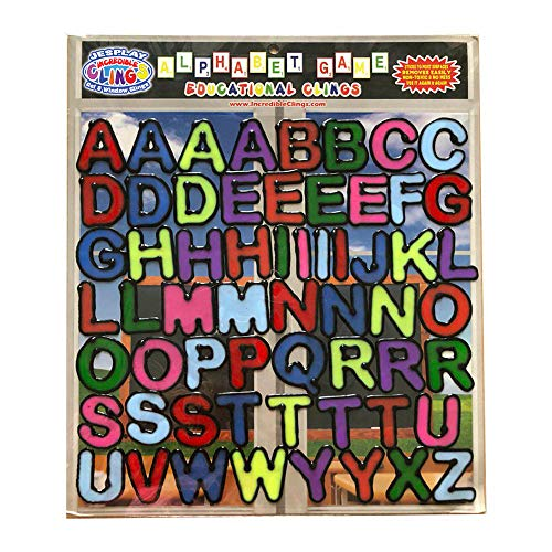 Alphabet and Letters Thick Gel Clings (56 pc) – Reusable and Removable Glass Window Clings for Kids - Gel Decals Create Messages Like Welcome Home, Happy Birthday Home, Airplane, Classroom, Nursery