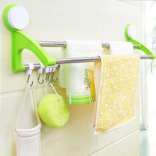 TTXP Sucker Doble toallero baño Gancho Cocina limpiaparabrisas (Color : Green)