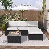 Conjunto de muebles de jardín de polirratán con cojines de asiento y respaldo, mesa con tablero de cristal (negro)