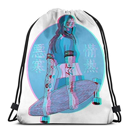 IUBBKI Lofi Longboard Mädchen Kordelzug Rucksack Gym Sack Pack Solid Cinch Pack Sinch Sack Sport String Bag Mit Tasche Strandtasche Geschenk Für Männer Frauen