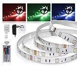 LED Streifen 3m RGB Set mit Steckernetzteil und Infrarot-Fernbedienung (RGB LED Strip 3 Meter - bunt mehrfarbig Weiß-Modus Farbwechsel 30LED/m IP20 12V