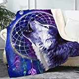 Bonsai Tree Wolf Blanket, Dream Catcher Soft Fluffy Cozy Sherpa Throw Blanket for Boy Men, Funny Thick Blue Purple Galaxy Space Crystal Velvet Fleece Blanket for Couch Bed Living Room, 50x60 Inches