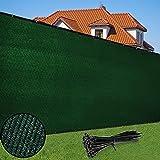 Duerer Malla de Ocultacion Jardin Verde 1.8 x 15.2m 142 g/m² Densidad HDPE Tela para Vallas De Jardin, Terraza, Balcón y Vallas