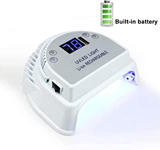 64W Led Uv Nail Lamp, Portable Rechargeable Nail Dryer for Gel/CND Shellac with Handle and 4 Timers 5000Mah Lithium Battery & 36 Lamp Beads(White)
