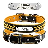 Beirui Soft Padded Genuine Leather <span class='highlight'>Dog</span> <span class='highlight'><span class='highlight'>collar</span></span> Personalized,Free Engraving No falling-off Nameplate <span class='highlight'>Dog</span> <span class='highlight'><span class='highlight'>Collar</span></span>,Yellow,M(30-39cm Neck Size)