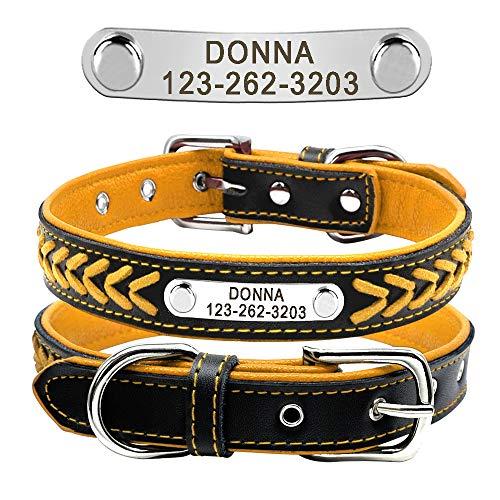 Didog, collare per cani in pelle intrecciata, con targhetta personalizzata per cani di taglia piccola, media e grande, giallo, taglia L