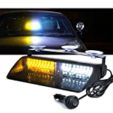 Xprite White Yellow/Amber 16 LED High Intensity Emergency Hazard Warning Strobe Lights w/Suction Cups for Law Enforcement Vehicles Truck Interior Roof Windshield Dash Deck Flashing Light