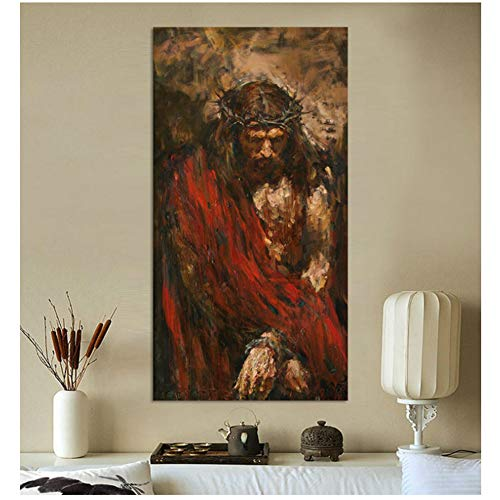 XIONGSHENGFBH Jesus Christus Ölgemälde auf Leinwand Kunstdruck Wohnkultur Leinwand Wandkunst Malerei Bild-60x120cm Kein Rahmen