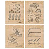 Vintage Hockey Patent Art Poster Prints, Set of 4 (8x10) Unframed Photos, Great Wall Art Decor Gifts Under 20 for Home, Office, Garage, Shop, Studio, Man Cave, Student, Teacher, Coach, Team, NHL Fan