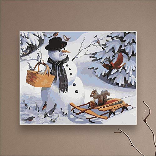Christmas Snowman Coloring by Numbers One Piece Paint Acrylic Canvas Painting Wall Art Picture For Living Room Adult Kit 40 * 50CM Sin Marco De Imagen