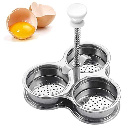 Cocinar Huevos De Acero Inoxidable, Escalfador De Huevos, Escalfador De Huevos De Acero Inoxidable Con Tres Rejillas Para Cocinar Huevos (Plata)