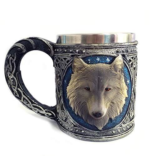Ruiting Copa de Acero 3D Lobo Resina Inoxidable de la Taza Creativa de la Jarra de Cerveza Vaso para Beber té Copa del Lobo Taza de café