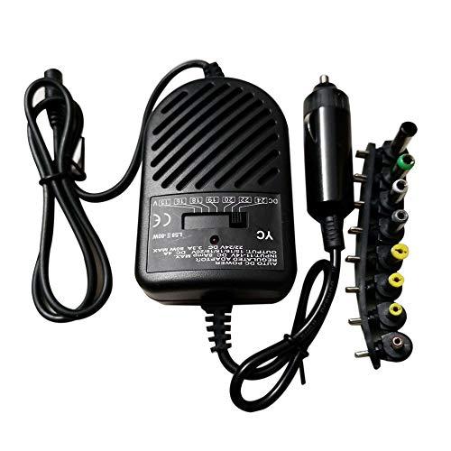 Easyeeasy Adaptador de Corriente de Cargador de Coche Universal de 80 W CC con 8 Puertos para Ordenador portátil PC 15~24 V Voltaje Variable
