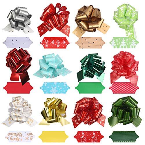 12pcs Geschenkschleifen Gift Bows Pull Bögen Weihnachten Schleife mit 10m Goldfaden für Weihnachten Hochzeit Geschenk Weihnachtsdekoration Christmas Party Geburtstagsgeschenk Geschenkpapier Zubehör