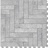 ITtile - Master Mosaic LVT Collection 20' x 20' Interlocking Vinyl Floor Tiles【6 Pack】(Grey Chevron)