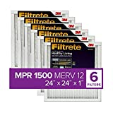 Filtrete 24x24x1, AC Furnace Air Filter, MPR 1500, Healthy Living Ultra Allergen, 6-Pack (exact dimensions 23.81 x 23.81 x 0.78)