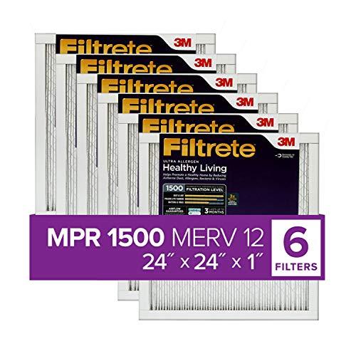 Filtrete UR12-6PK-1E 24x24x1, AC Furnace Air Filter, MPR 1500, Healthy Living Ultra Allergen, 6-Pack (exact dimensions 23.81 x 23.81 x 0.78),White