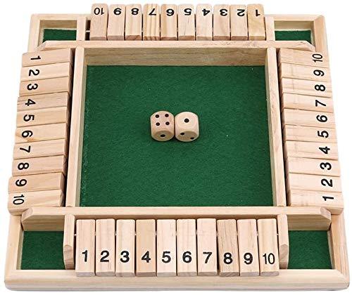 Ellepigy 4 Spieler Shut The Box Holztisch Brettspiel Klassische Würfel Anzahl Puzzle Spielzeug Für Kinder Kinder