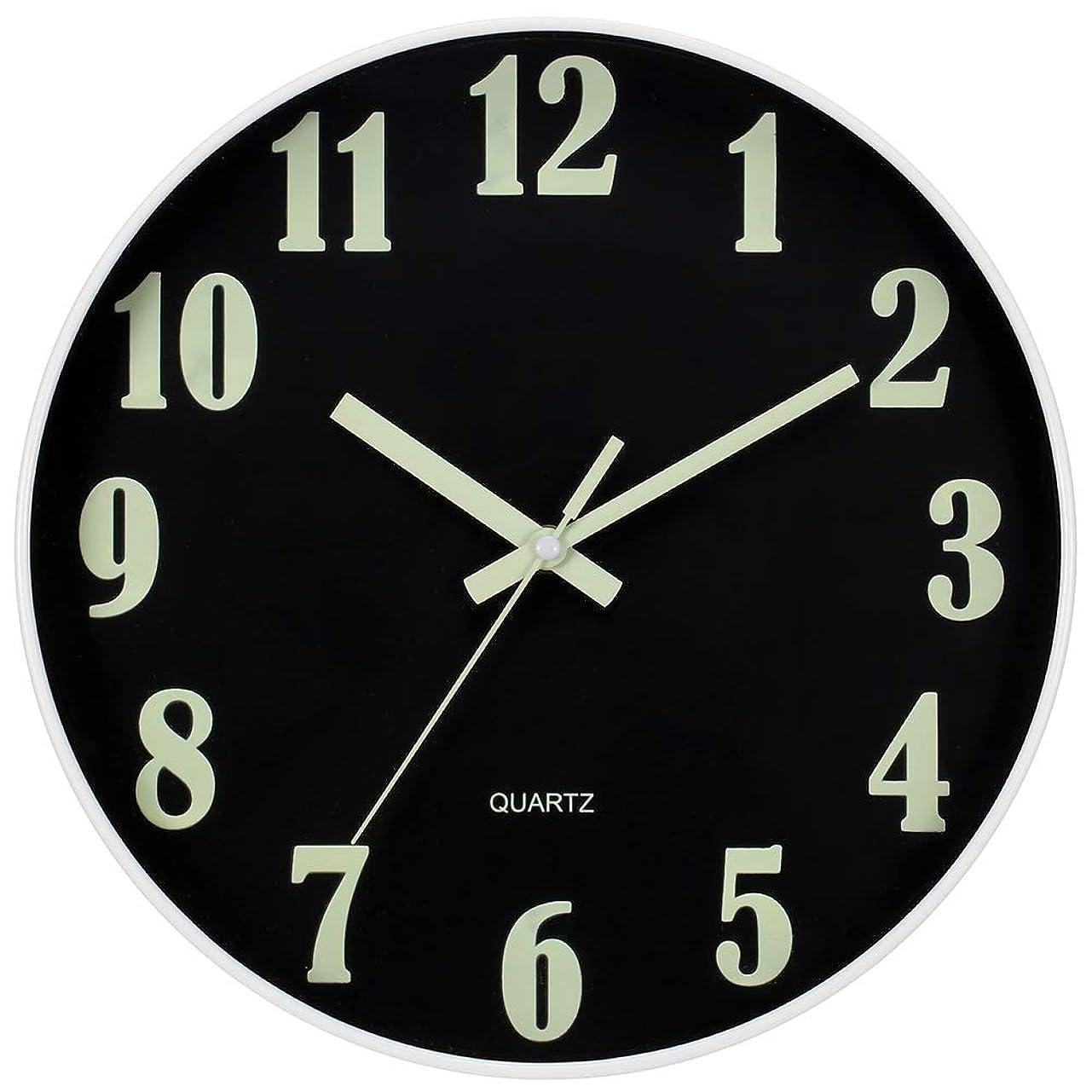 軍ディンカルビルパスJoFomp 壁掛け時計 連続秒針 夜光 蛍光 掛け時計 電池式 静音 サイレント ウォール クロック お洒落な掛け時計 直径約30cm (黒)