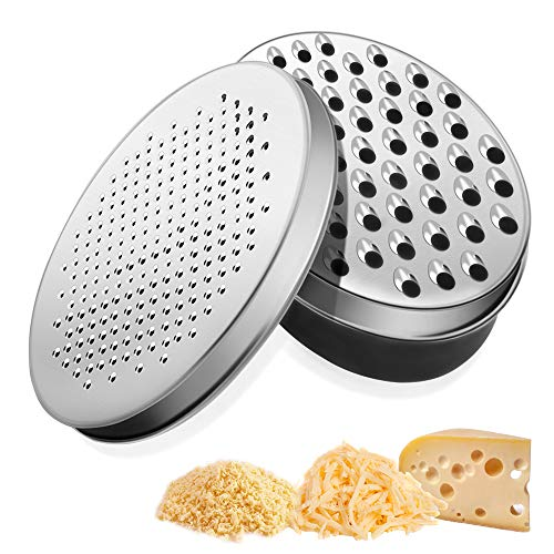 Cheese Grater Zester- 2 Sided Cheese Grater Mandolins Slicer Chocolate Grater Sharp Stainless Steel Blade with Food Storage Box for Kitchen - Black
