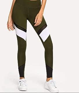Contrast Mesh Striped Skinny Leggings
