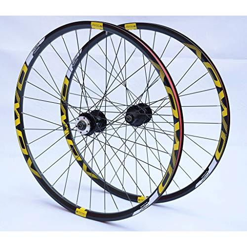MZPWJD Ruote MTB da 26 27,5 29 Pollici Ruote per Mountain Bike Cerchi A Doppia Parete Freno Disco 8-10 velocità Hub A Cassetta 32H QR (Color : Gold, Size : 27.5in)
