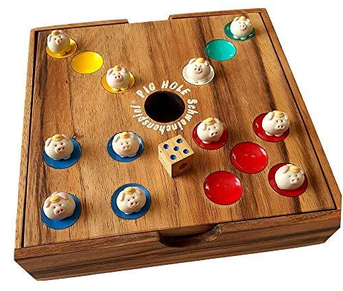Pig Hole, Schweinchenspiel original Knobelholz – Pighole Würfelspiel, Bighole Unterhaltungsspiel mit 60 kleinen Schweinchen Handgemacht Gesellschaftsspiel, Brettspiel, Kinderspiel